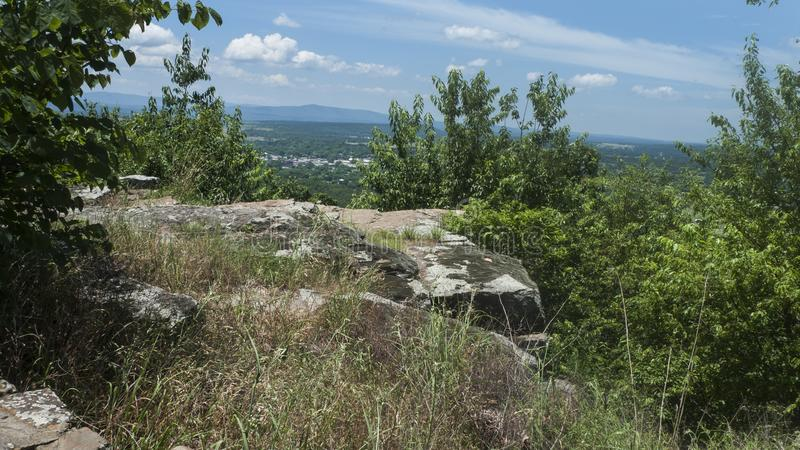 Rocky ledge with a view in the Ouachita Mountains stock photos