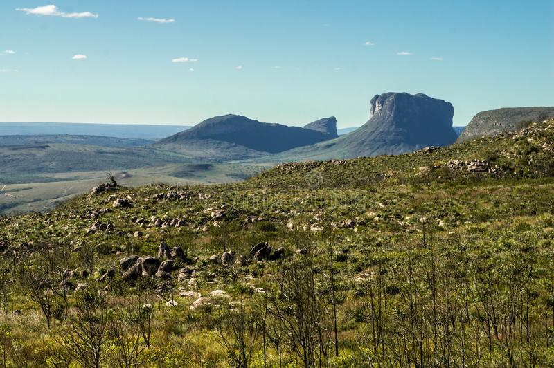 Rocky meadows on plateau range. Scenic nature of the Diamond Plateau Chapada Diamantina, on the top of a grassy and rocky plateau, and with view to another stock photos