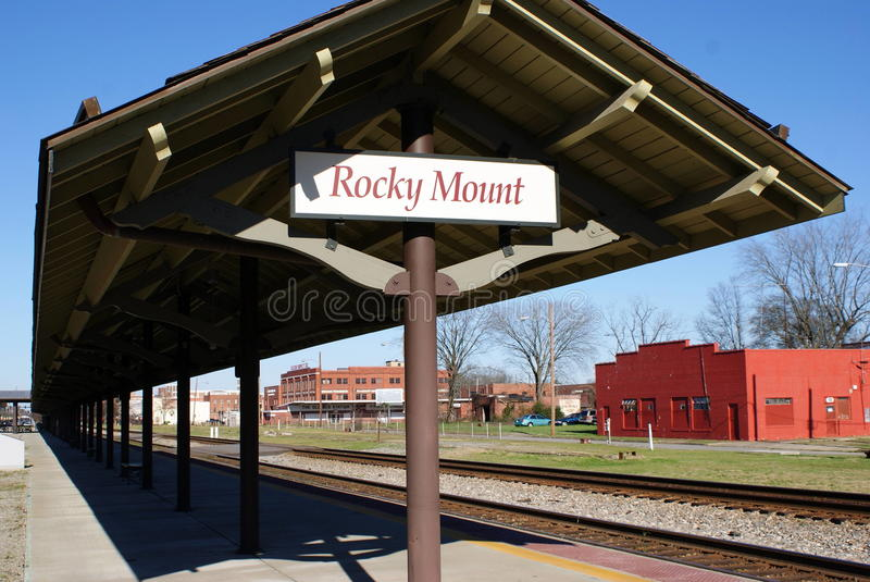 Rocky Mount sign. Sign at the old train station in historic downtown Rocky Mount stock photography