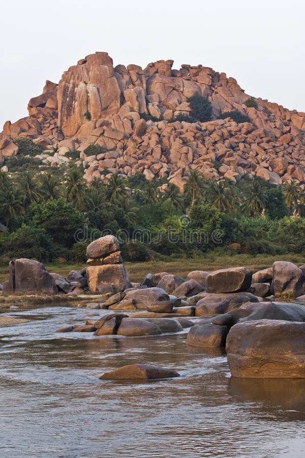 Rocky mountain. In Hampi, bouldering capital of India royalty free stock images