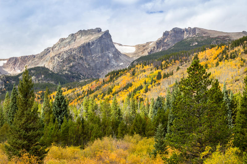 Rocky Mountain Park Road to Bear Lake. Headed to Bear Lake, Rocky Mountain National Park, Aspens in Fall colors royalty free stock images