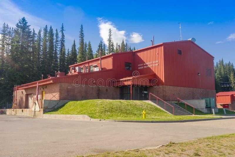 Rocky Mountain House, Canada luglio 3,2016: Impianto per il trattamento delle acque immagini stock libere da diritti