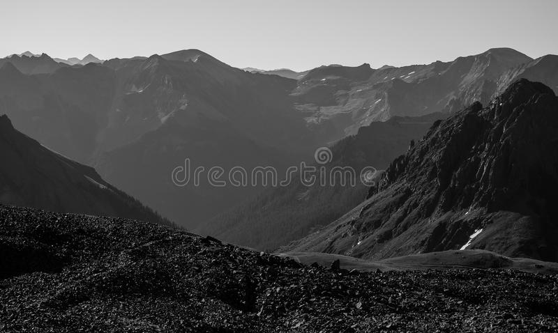 Rocky Mountain Landscape Black and white royalty free stock photo