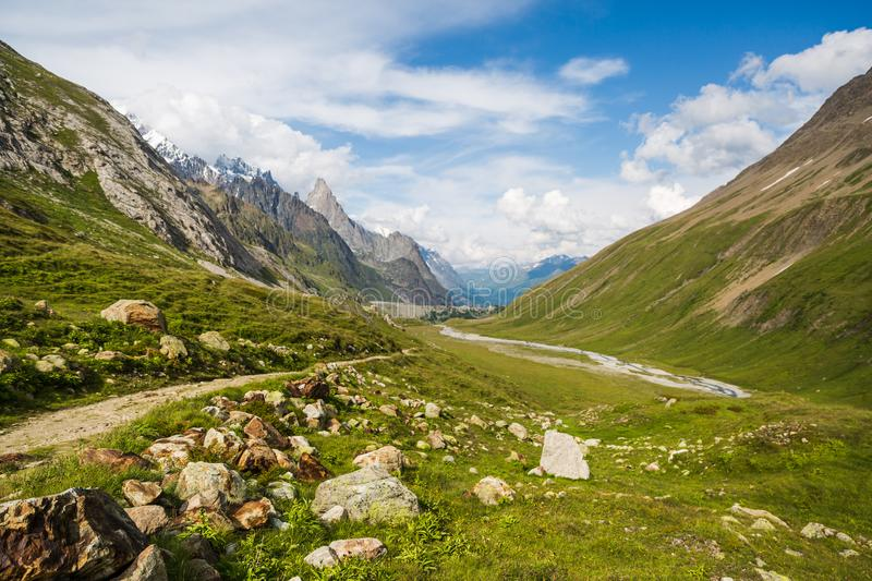 Rocky Mountain Landscape with Marmot on Mont-Blanc Trail.  stock photo