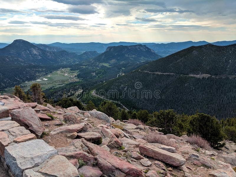 Rocky Mountain National Park View from Rainbow Curve Overlook. Showing the valley and mountain peeks in the distance royalty free stock image