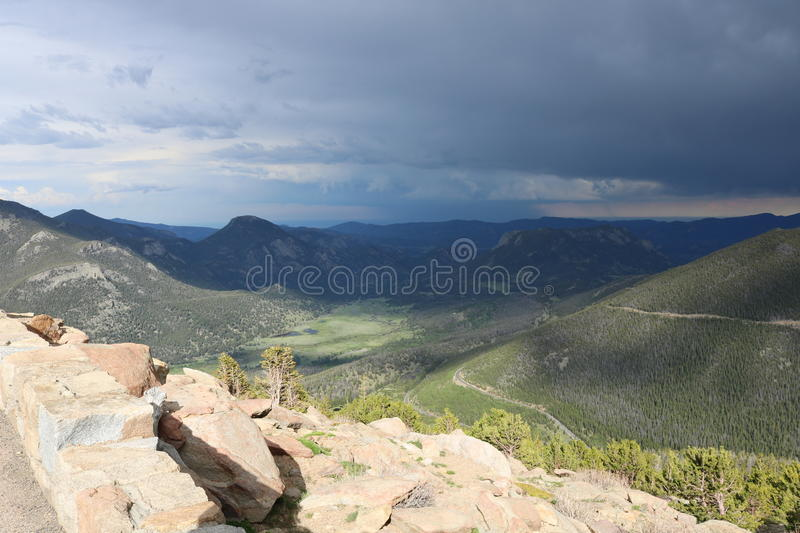 Rocky Mountain National Park. View of stormy clouds, rocks and mountains in Rocky Mountain National Park, Colorado on Trail Ridge Road royalty free stock photos