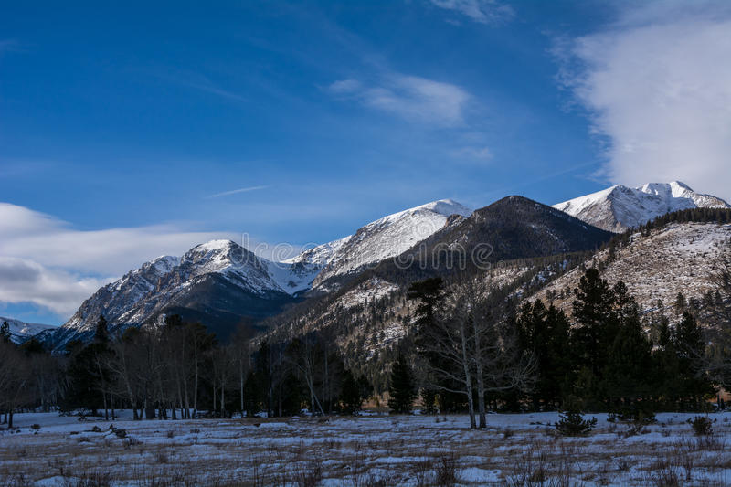 Rocky Mountain National Park. Winter view of snow covered mountains in Rocky Mountain National Park royalty free stock images