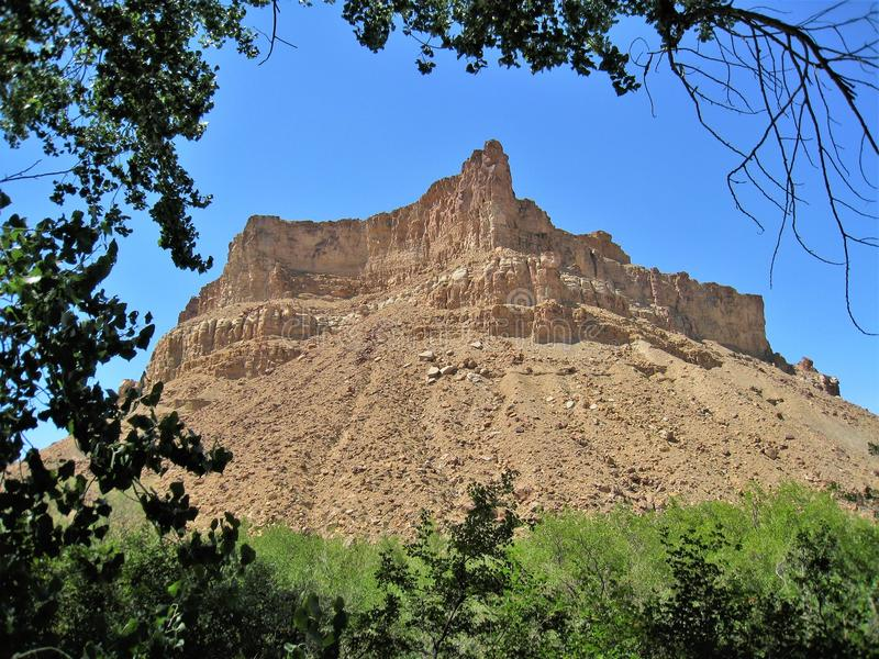 Rocky Mountain new Green River, Utah. A jagged mountain peak stands tall near the Green River State Park in Utah royalty free stock photos