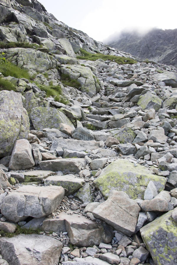 Rocky mountain path. On Carpathian mountains in Slovakia stock image