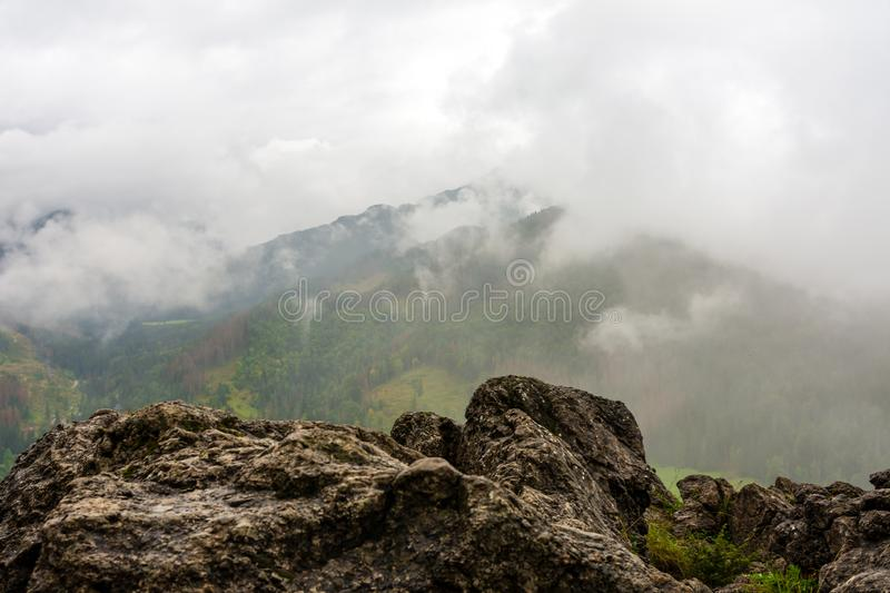Rocky mountain in Polish Tatra mountains. Beautiful green forests stock images