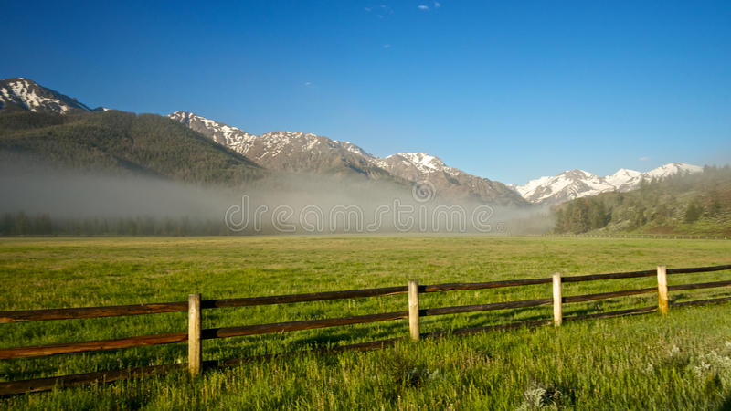 Rocky Mountain Ranch Fence Stock Image