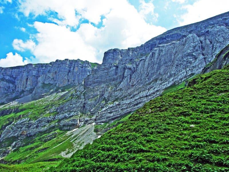 Rocky mountain ridge Roslenfirst and Saxer First in Alpstein mountain range stock photo