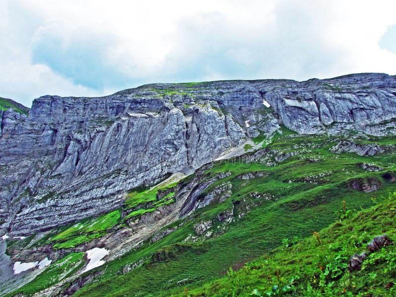 Rocky mountain ridge Roslenfirst and Saxer First in Alpstein mountain range stock image