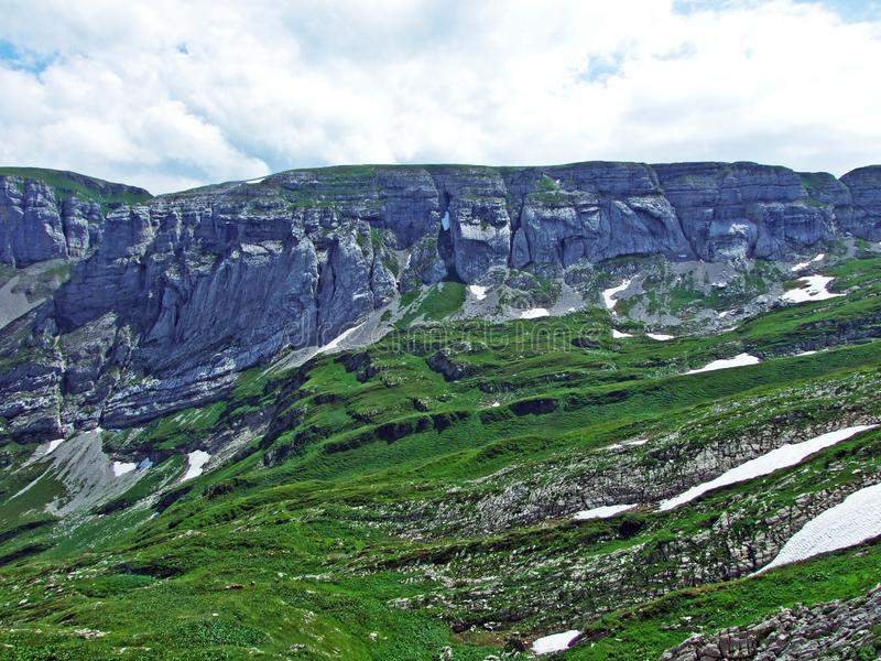 Rocky mountain ridge Roslenfirst and Saxer First in Alpstein mountain range royalty free stock images