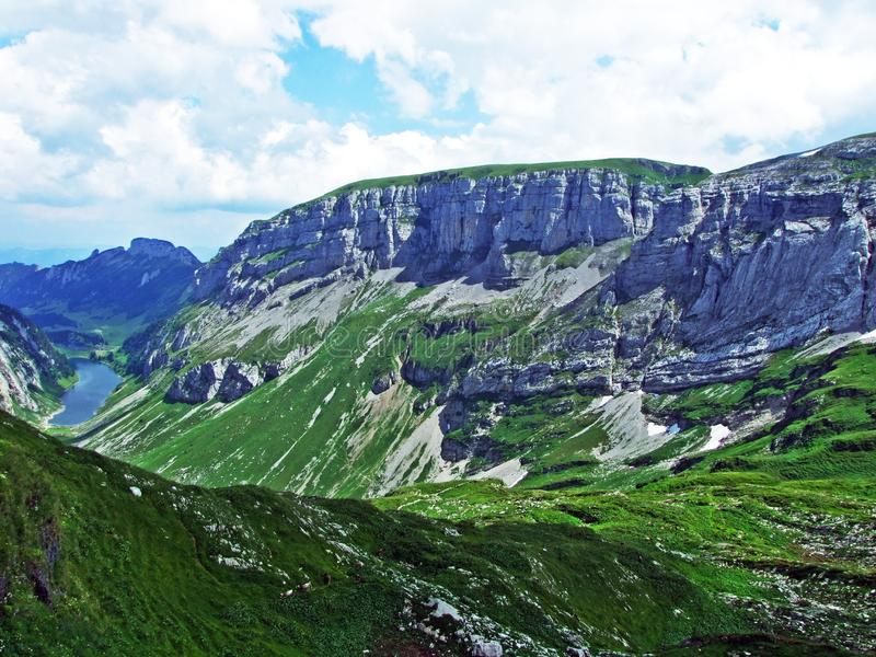 Rocky mountain ridge Roslenfirst and Saxer First in Alpstein mountain range royalty free stock photography