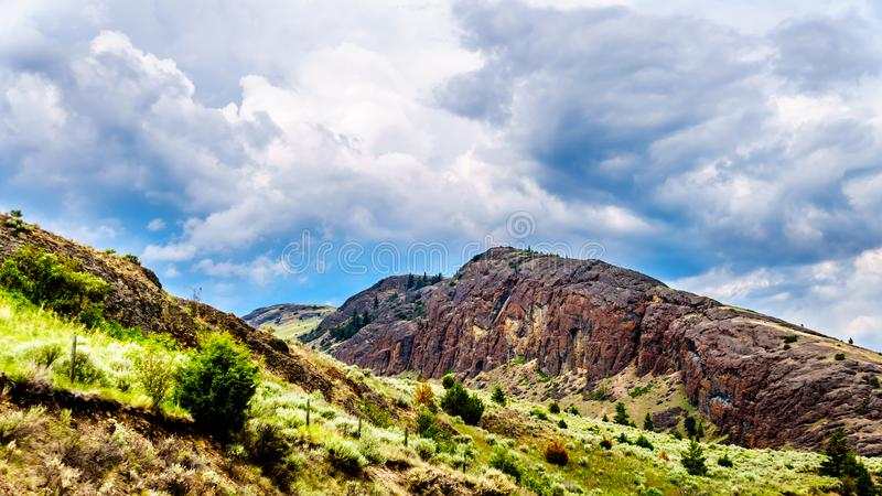 Rocky Mountain and rolling hills in the Nicola Valley in British Columbia, Canada stock images