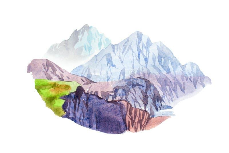 Rocky mountain scenery natural landscape watercolor illustration vector illustration