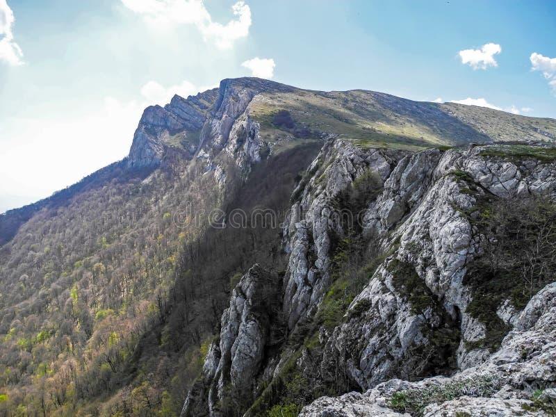 Rocky Mountain, sloping mountain ridge at spring. Crimean mountains.  royalty free stock image