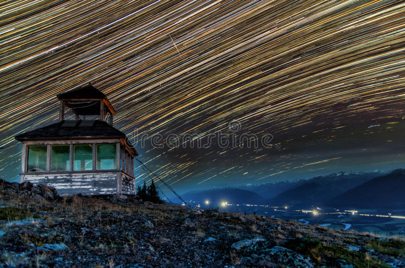 Rocky Mountain Startrails fotografie stock