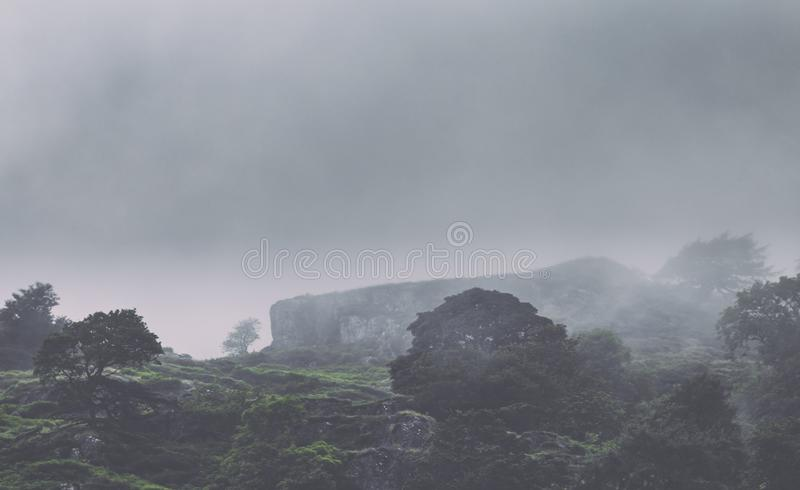 Rocky mountain summit in heavy mist royalty free stock photography