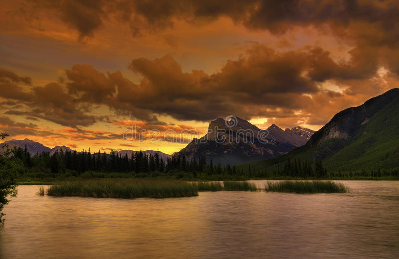Rocky Mountain Sunset. Beautiful sunset over the Vermilion Lakes in the Canadian Rockies. Mount Rundle in the distance royalty free stock photography