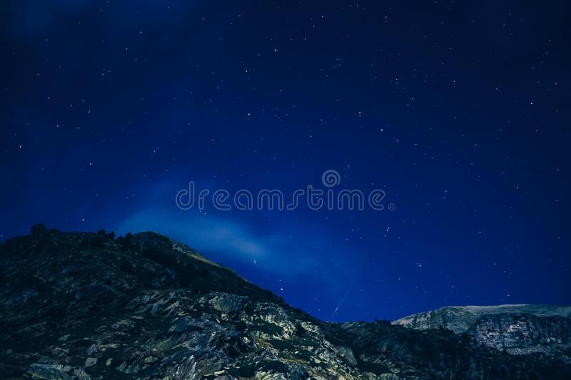 Rocky Mountain Under Starry Night Skies Free Public Domain Cc0 Image