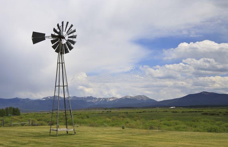 Rocky Mountain windpump stock photo