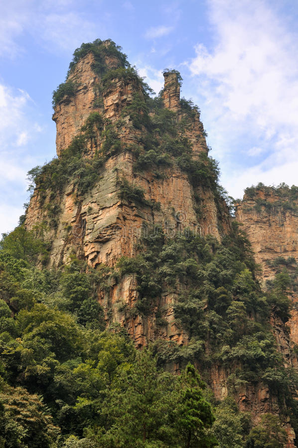 Rocky mountain in Zhangjiajie, China stock photo