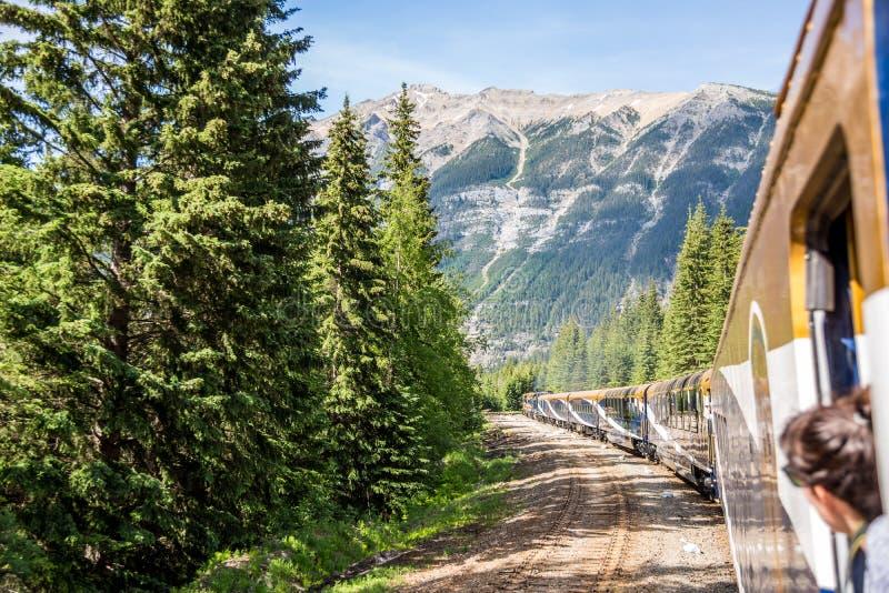 Rocky Mountaineer drev som reser till och med Rocky Mountains royaltyfri foto