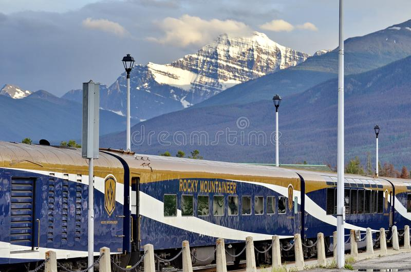 The Rocky Mountaineer Train at the Jasper Station. Jasper, Alberta, Canada - July 7, 2019: The Rocky Mountaineer Train at the Jasper Station in Jasper National royalty free stock photos
