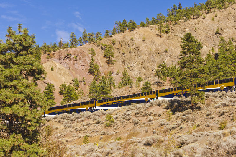 The Rocky Mountaineer. The train - The Rocky Mountaineer - stops at a scenic spot along the Thompson River near Spence's Bridge in the interior of BC, Canada stock photos