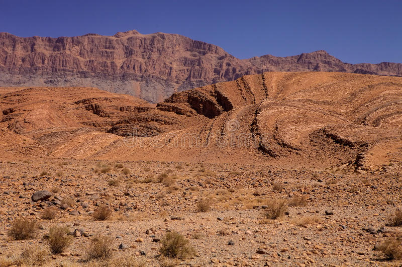 Rocky mountainous desert in the middle of Morocco stock image