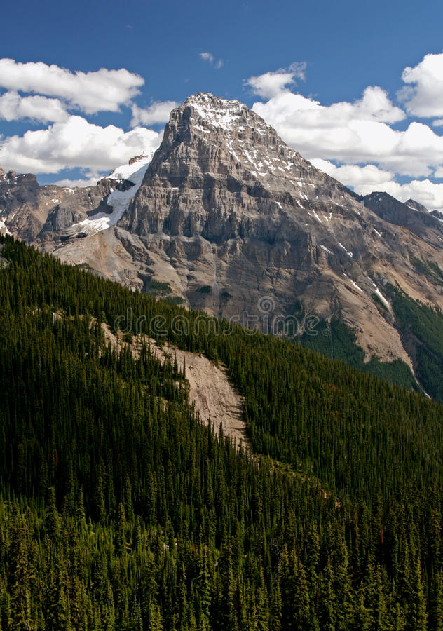 Rocky Mountains. The rocky mountains with some snow left over royalty free stock image