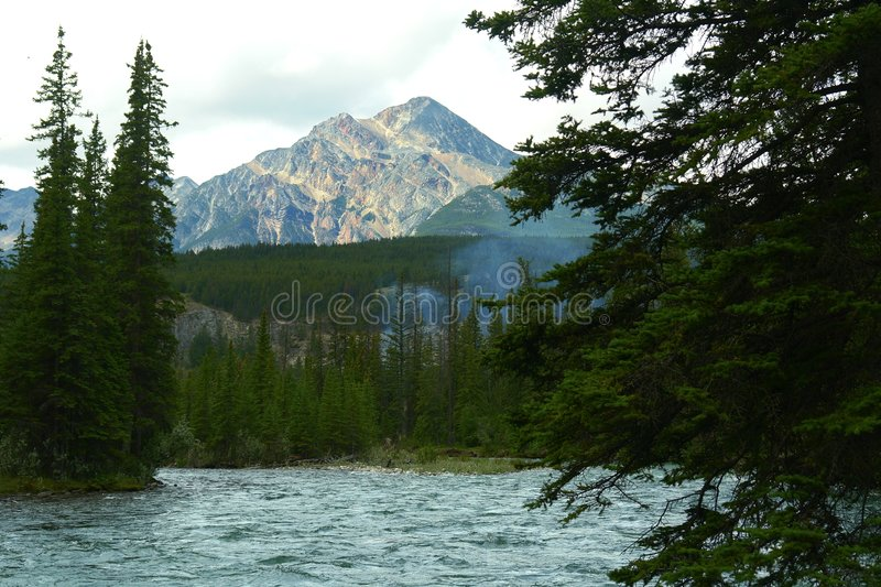 Rocky Mountains. View of the Rocky Mountains in Jasper, Alberta stock photo