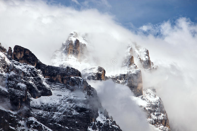 Rocky mountains above Cortina D'Ampezzo stock photography