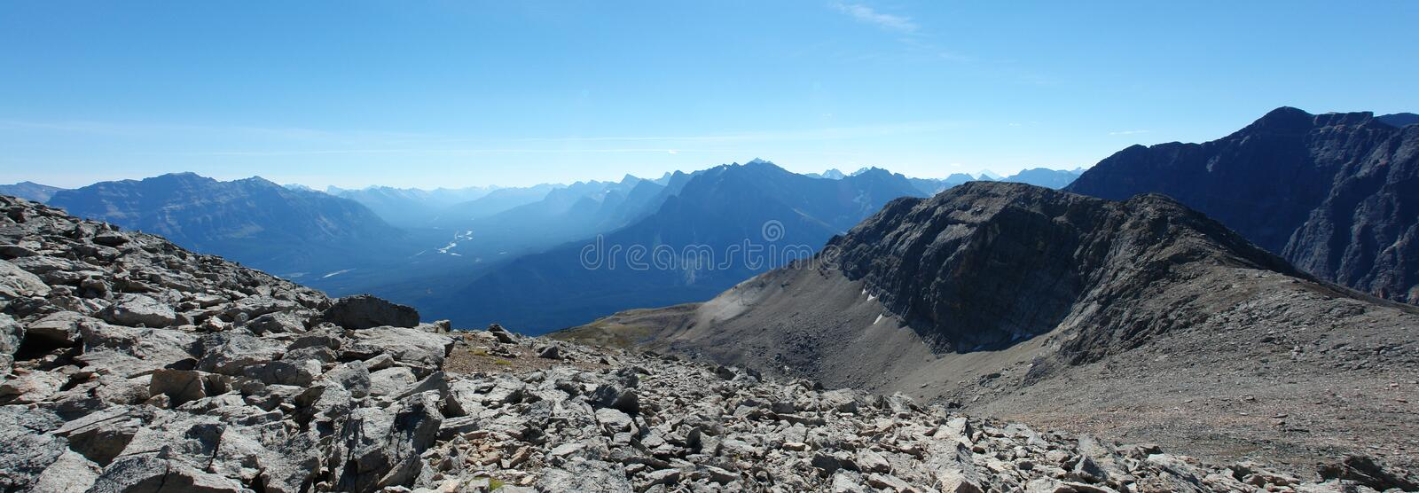 Rocky mountains and athabasca valley. Summer view of the canadian rocky mountains and the athabasca valley, jasper national park, alberta, canada royalty free stock photos