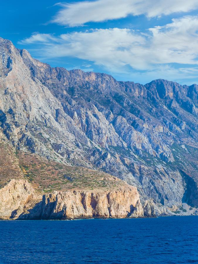 Rocky mountains of Crete, bordering south Aegean Sea royalty free stock image