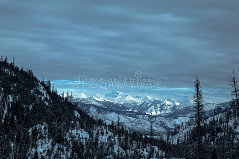 Rocky Mountains in January stock photo