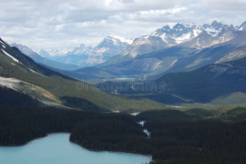 Rocky mountains and lake stock image