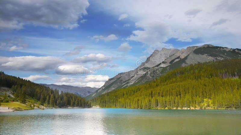 Rocky Mountains, Lake Minnewanka, Canada. Panorama view - Lake Minnewanka in Rocky Mountains. Banff NP, Alberta, Canada royalty free stock images