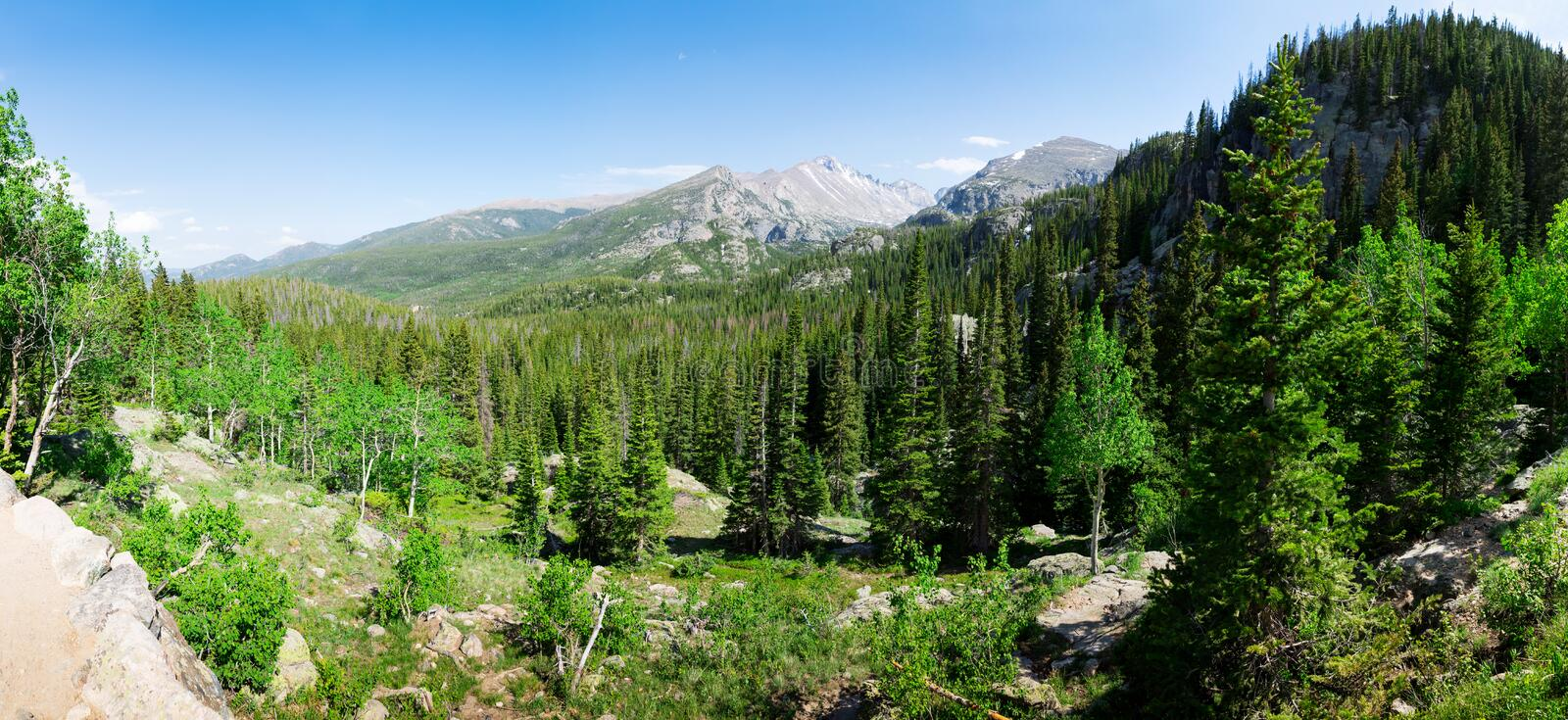 Rocky mountains landscape panoramic view royalty free stock images