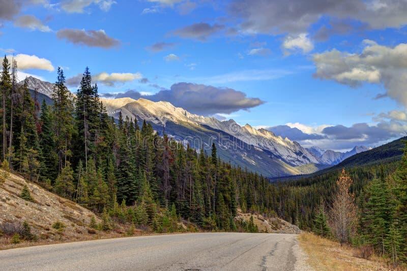 Rocky Mountains-landschap langs de weg royalty-vrije stock foto's