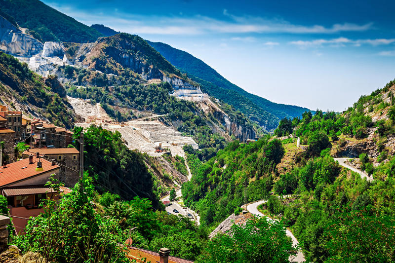 Rocky mountains with marble quarries royalty free stock photo
