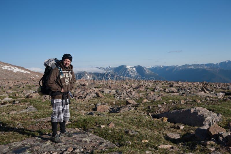 Rocky Mountains National Park, wandelaar royalty-vrije stock afbeeldingen