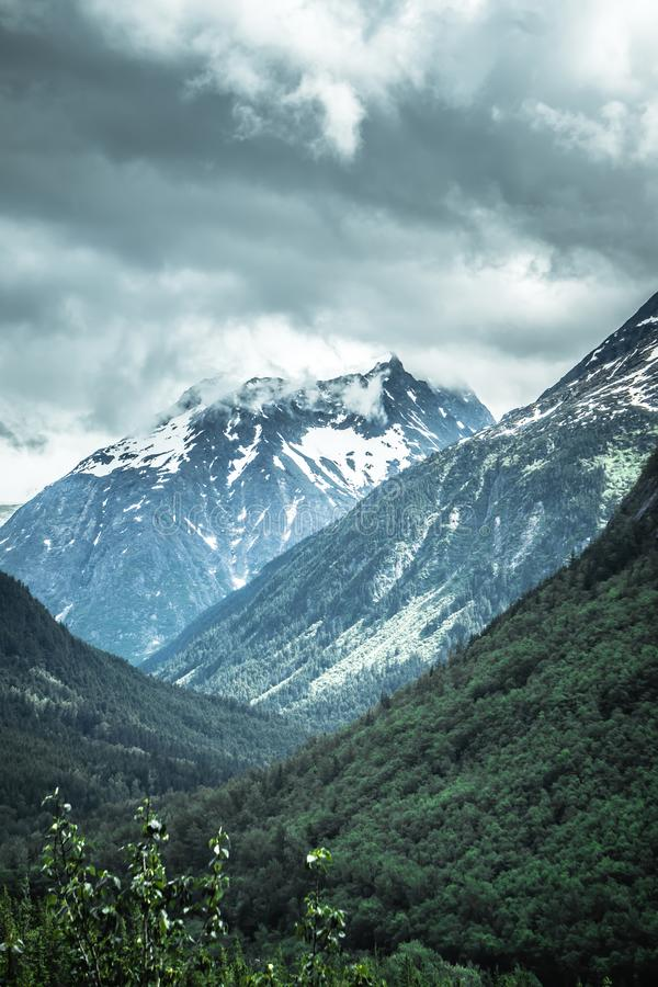 Rocky mountains nature scenes on alaska british columbia border royalty free stock images