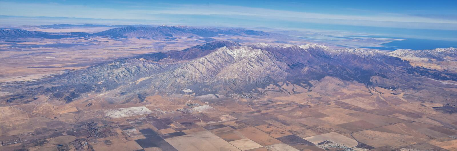 Rocky Mountains, Oquirrh range aerial views, Wasatch Front Rock from airplane. South Jordan, West Valley, Magna and Herriman, by t. He Great Salt Lake Utah stock photos