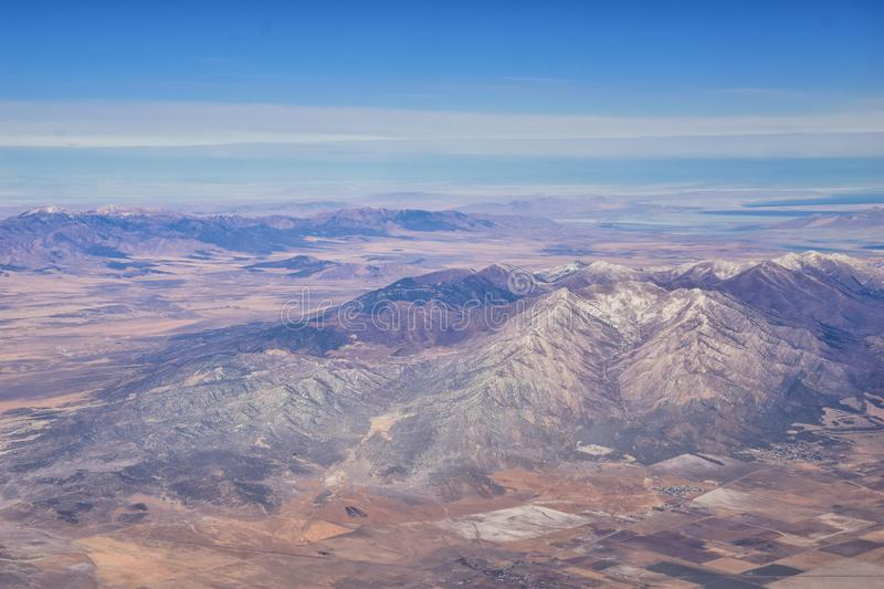 Rocky Mountains, Oquirrh range aerial views, Wasatch Front Rock from airplane. South Jordan, West Valley, Magna and Herriman, by t. He Great Salt Lake Utah stock image