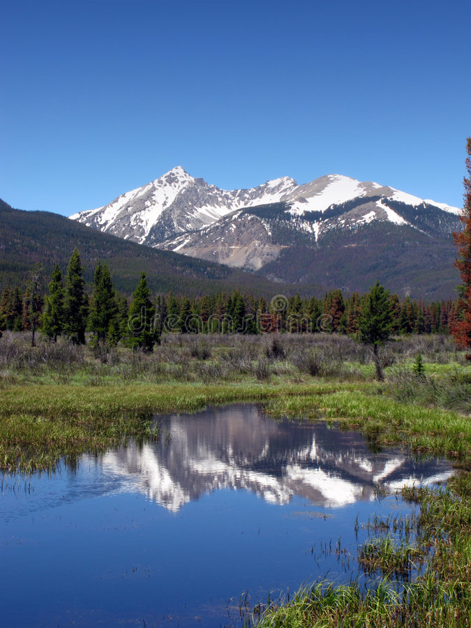 Rocky Mountains Scenic Landscape with Snow Peaks royalty free stock photo