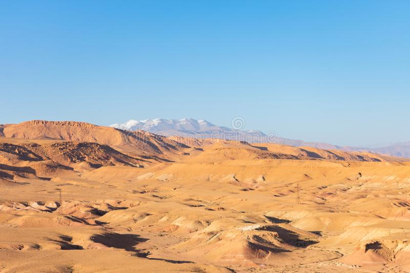 Rocky Mountains and Terrain near Ait Ben Haddou in Morocco royalty free stock photos