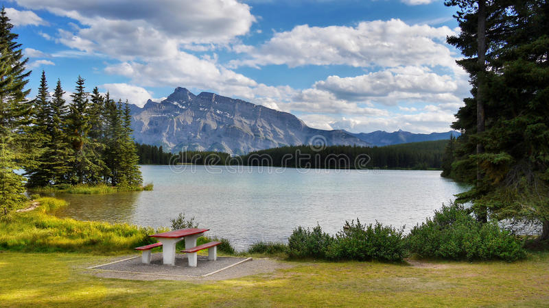 Rocky Mountains, Two Jack Lake, Canada royalty free stock image